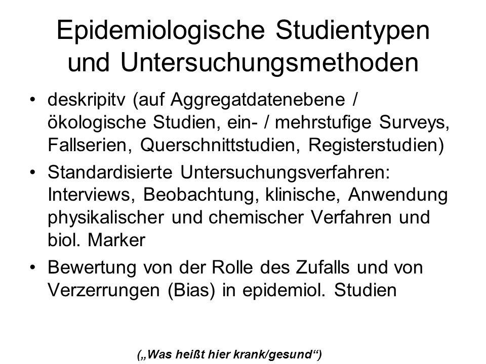 Epidemiologische Studientypen und Untersuchungsmethoden