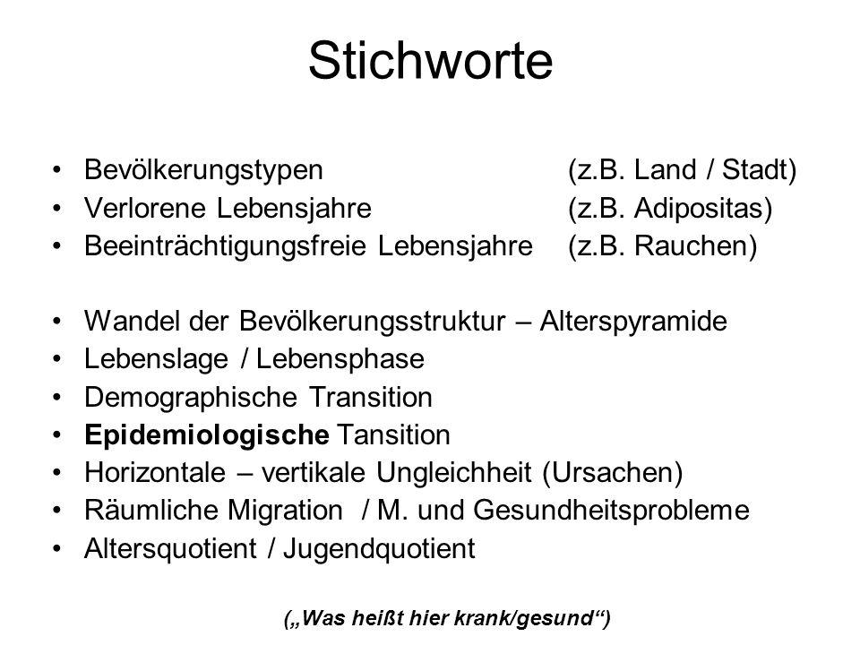 Stichworte Bevölkerungstypen (z.B. Land / Stadt)