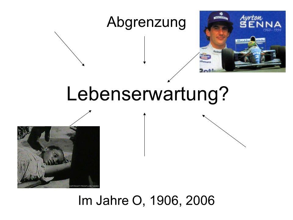 Abgrenzung Lebenserwartung Im Jahre O, 1906, 2006