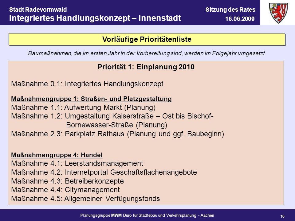 Vorläufige Prioritätenliste Priorität 1: Einplanung 2010