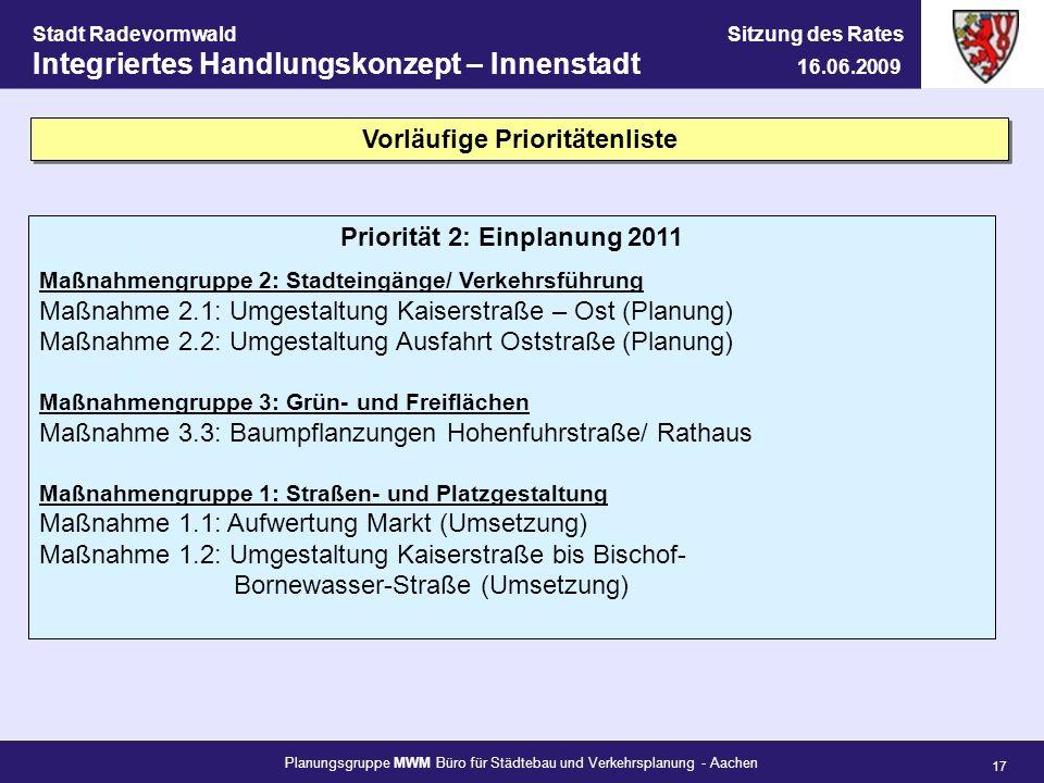 Vorläufige Prioritätenliste Priorität 2: Einplanung 2011