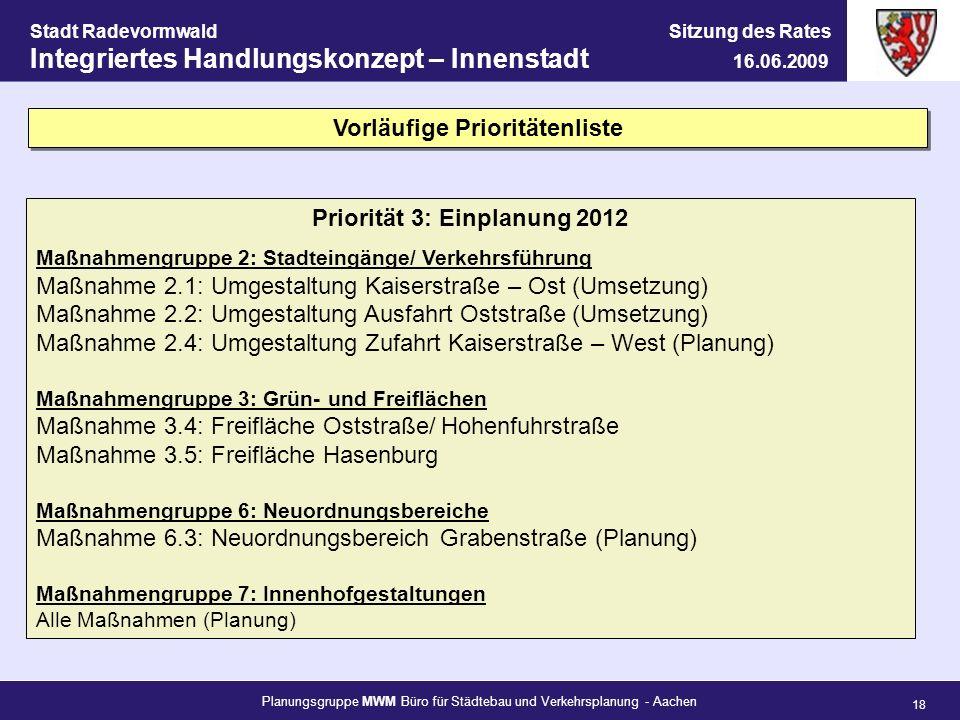 Vorläufige Prioritätenliste Priorität 3: Einplanung 2012
