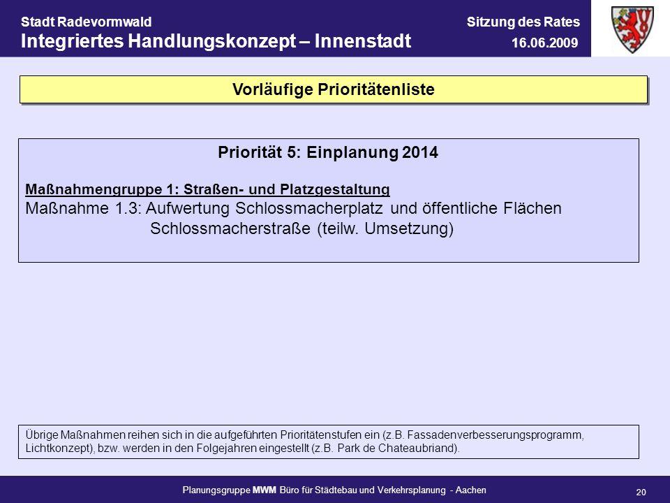 Vorläufige Prioritätenliste Priorität 5: Einplanung 2014