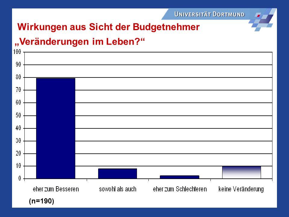 Wirkungen aus Sicht der Budgetnehmer