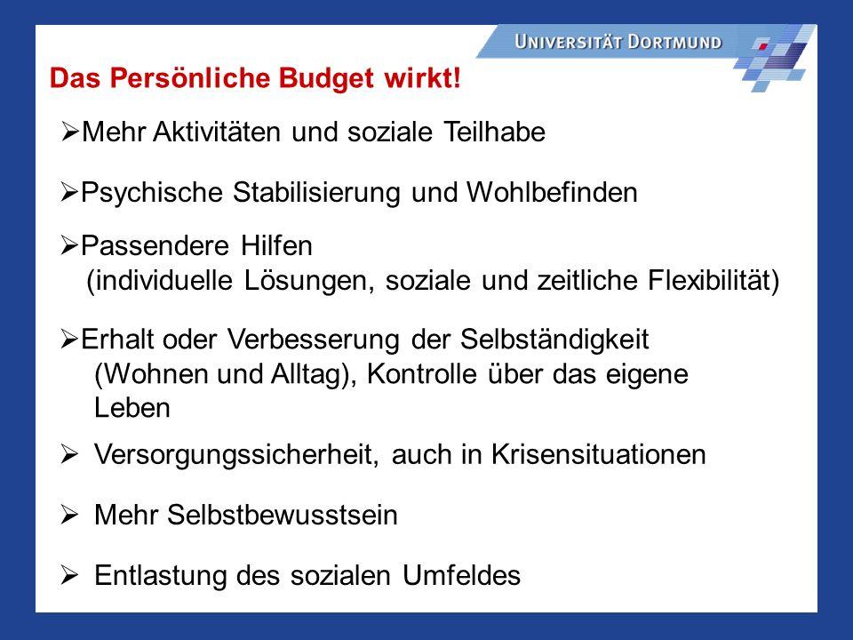 Das Persönliche Budget wirkt!