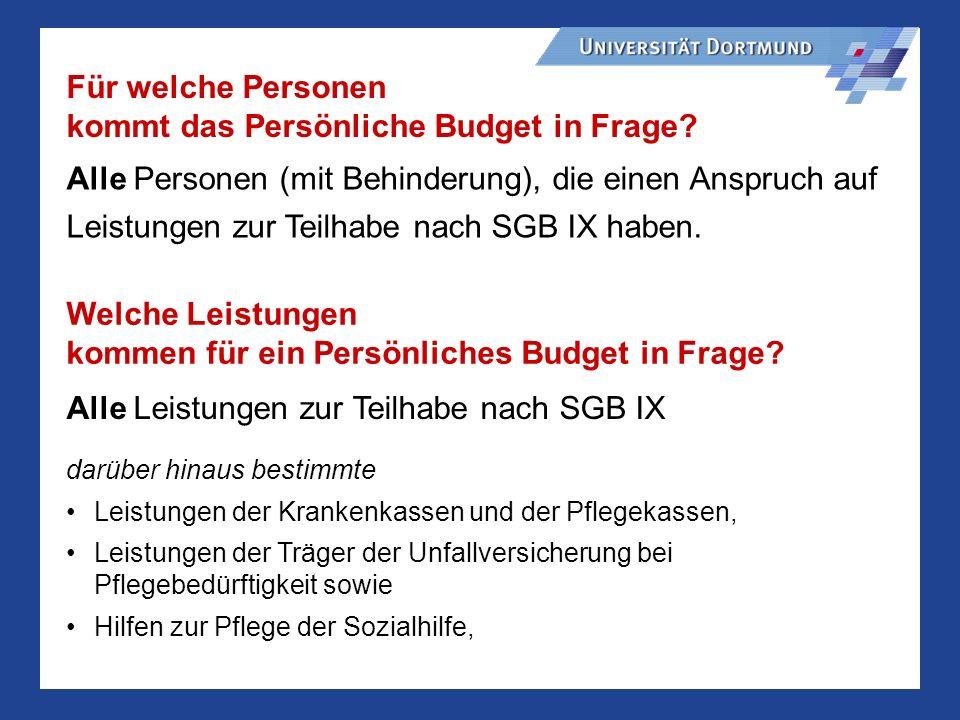kommt das Persönliche Budget in Frage