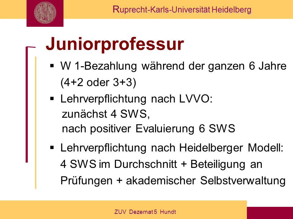 Juniorprofessur W 1-Bezahlung während der ganzen 6 Jahre (4+2 oder 3+3) Lehrverpflichtung nach LVVO: