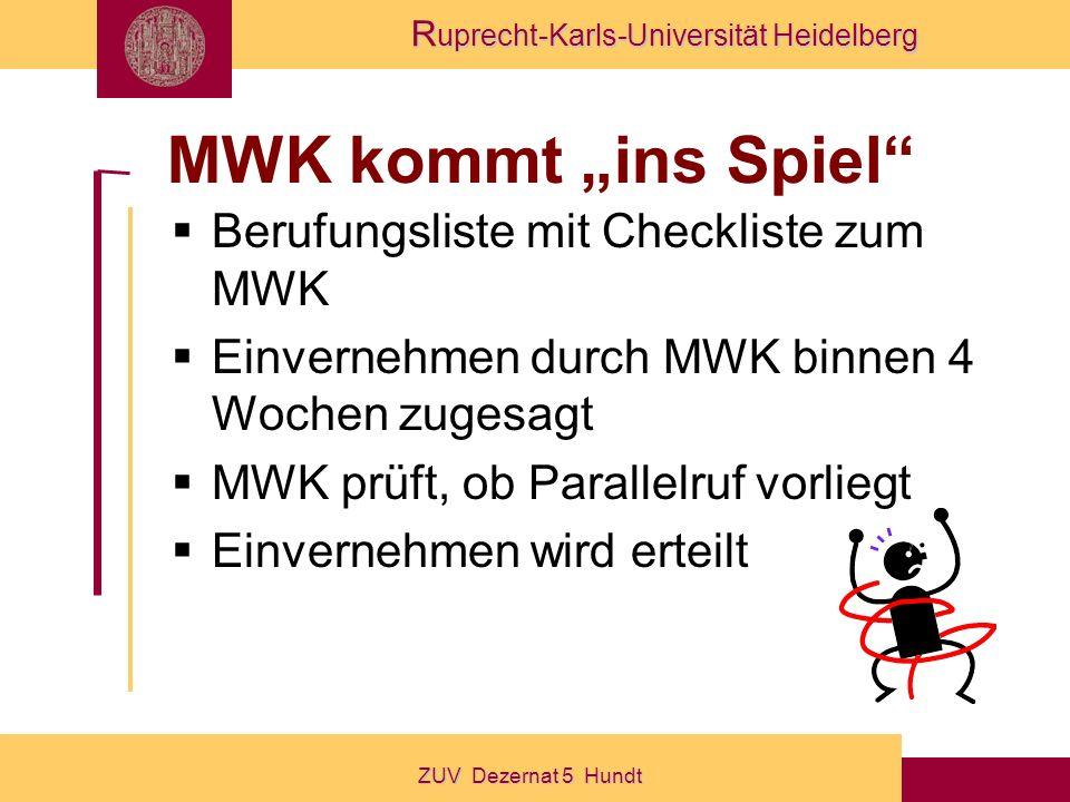 """MWK kommt """"ins Spiel Berufungsliste mit Checkliste zum MWK"""