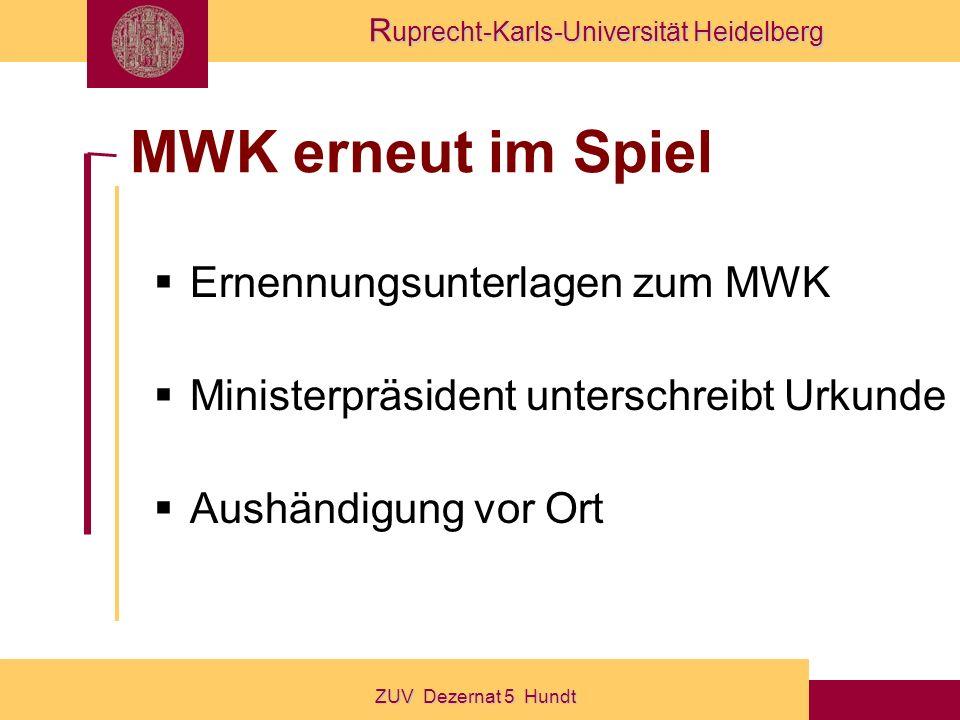 MWK erneut im Spiel Ernennungsunterlagen zum MWK