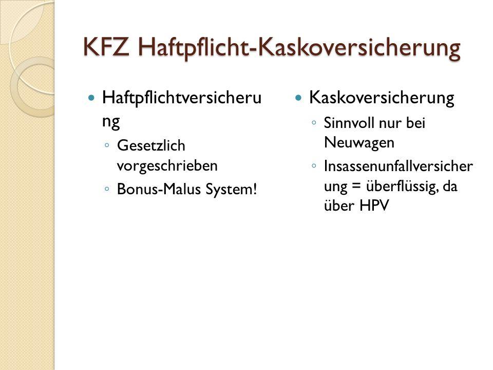 KFZ Haftpflicht-Kaskoversicherung