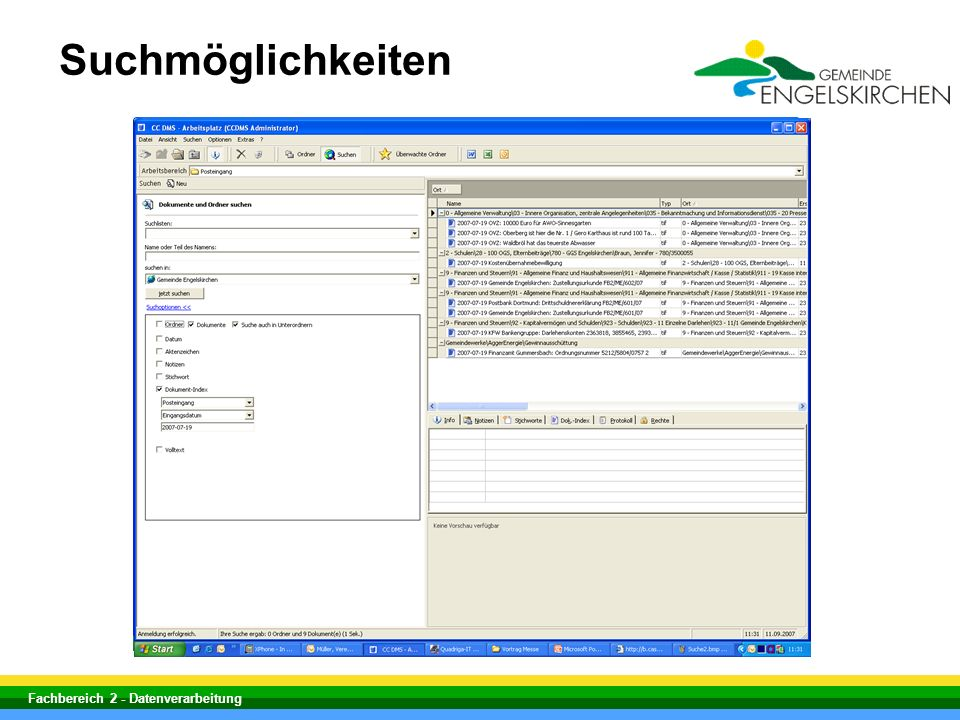 Suchmöglichkeiten Fachbereich 2 - Datenverarbeitung