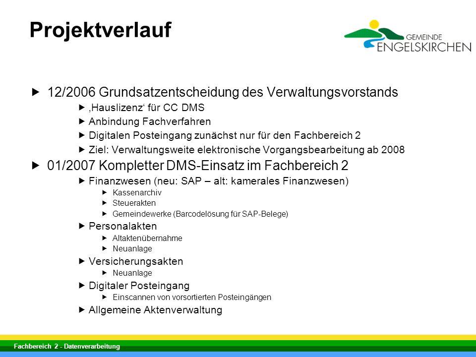 Projektverlauf 12/2006 Grundsatzentscheidung des Verwaltungsvorstands
