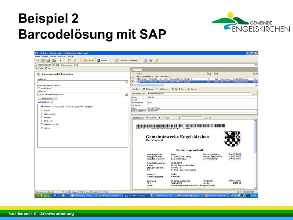 Beispiel 2 Barcodelösung mit SAP