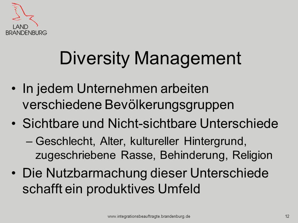 Diversity Management In jedem Unternehmen arbeiten verschiedene Bevölkerungsgruppen. Sichtbare und Nicht-sichtbare Unterschiede.