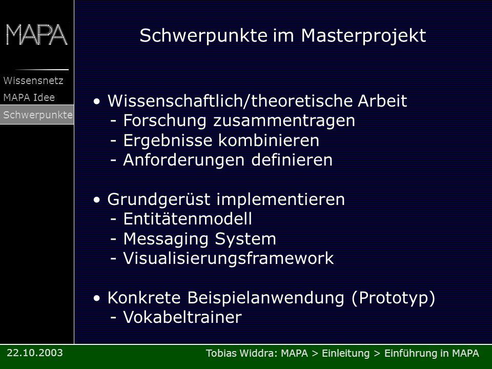 Schwerpunkte im Masterprojekt