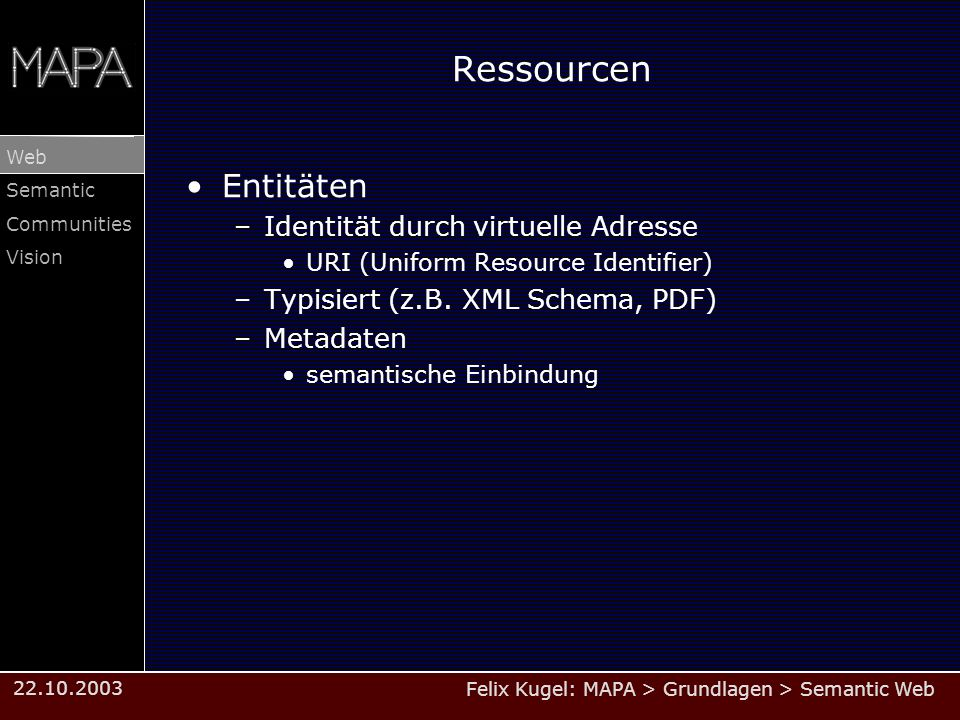 Ressourcen Entitäten Identität durch virtuelle Adresse
