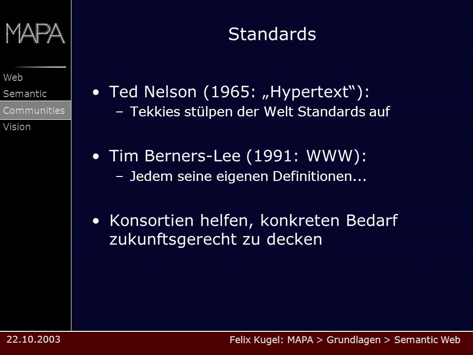 "Standards Ted Nelson (1965: ""Hypertext ): Tim Berners-Lee (1991: WWW):"