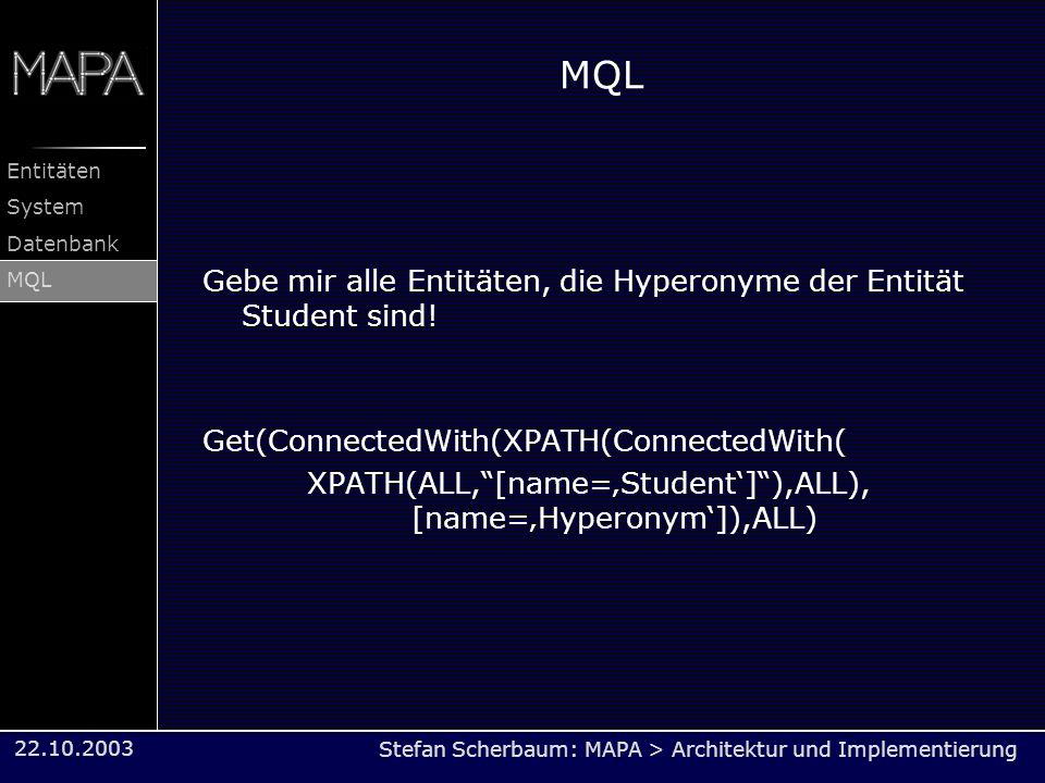 MQL Gebe mir alle Entitäten, die Hyperonyme der Entität Student sind!