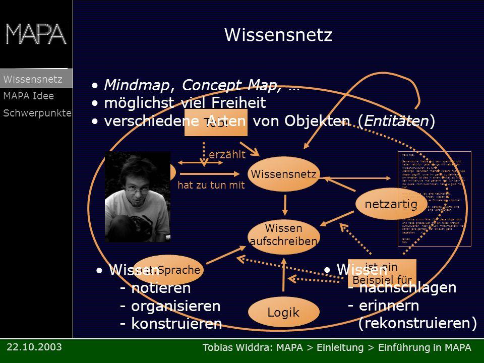 Wissensnetz Mindmap, Concept Map, … möglichst viel Freiheit