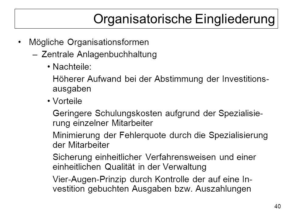Organisatorische Eingliederung