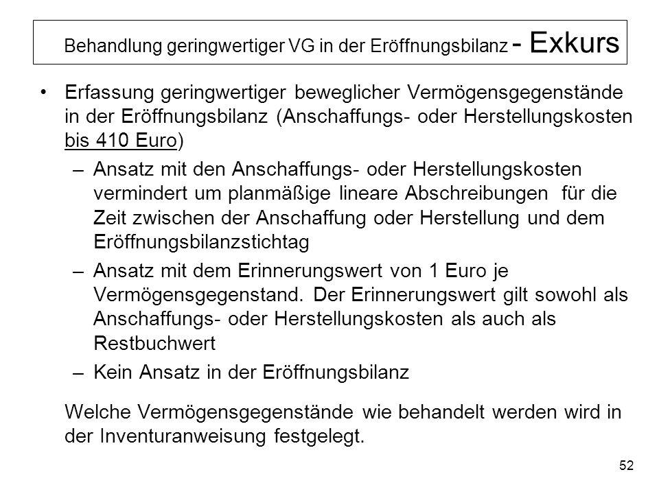 Behandlung geringwertiger VG in der Eröffnungsbilanz - Exkurs