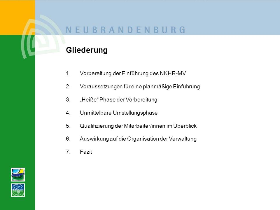 Gliederung Vorbereitung der Einführung des NKHR-MV