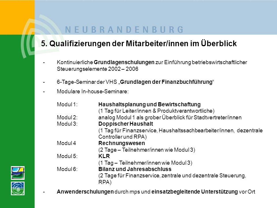 5. Qualifizierungen der Mitarbeiter/innen im Überblick