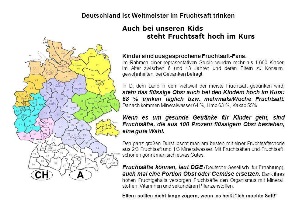 A CH Deutschland ist Weltmeister im Fruchtsaft trinken