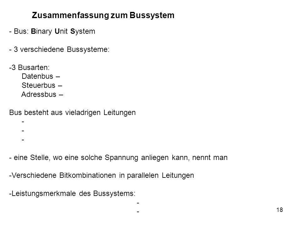 Zusammenfassung zum Bussystem