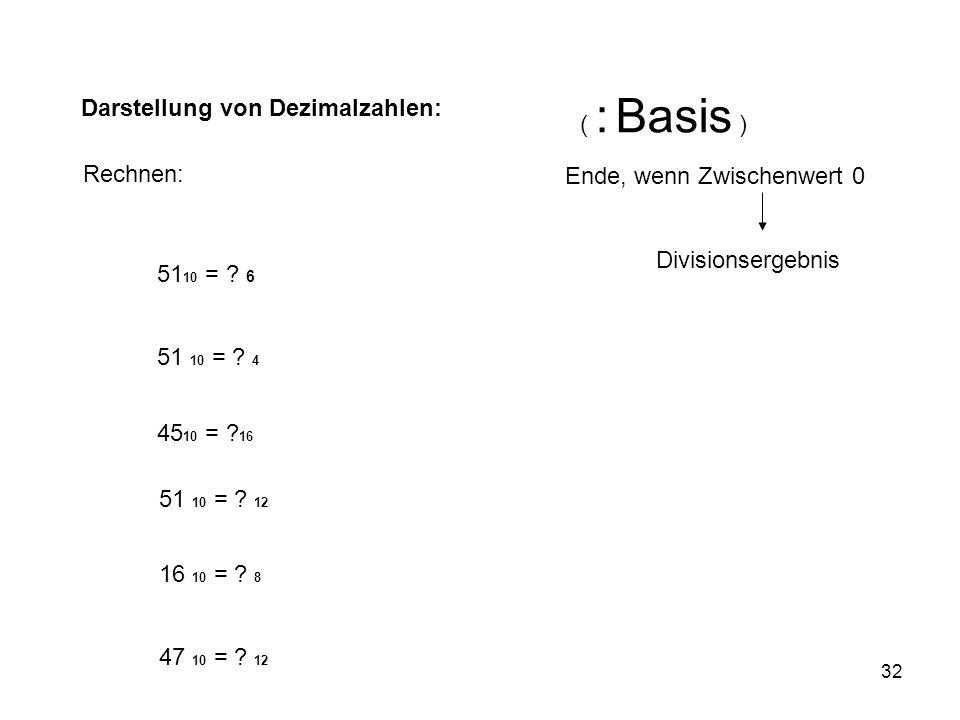 ( : Basis ) Darstellung von Dezimalzahlen: Rechnen: Ende, wenn Zwischenwert 0. Divisionsergebnis.