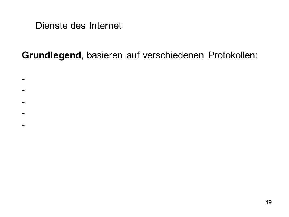 Dienste des Internet Grundlegend, basieren auf verschiedenen Protokollen: