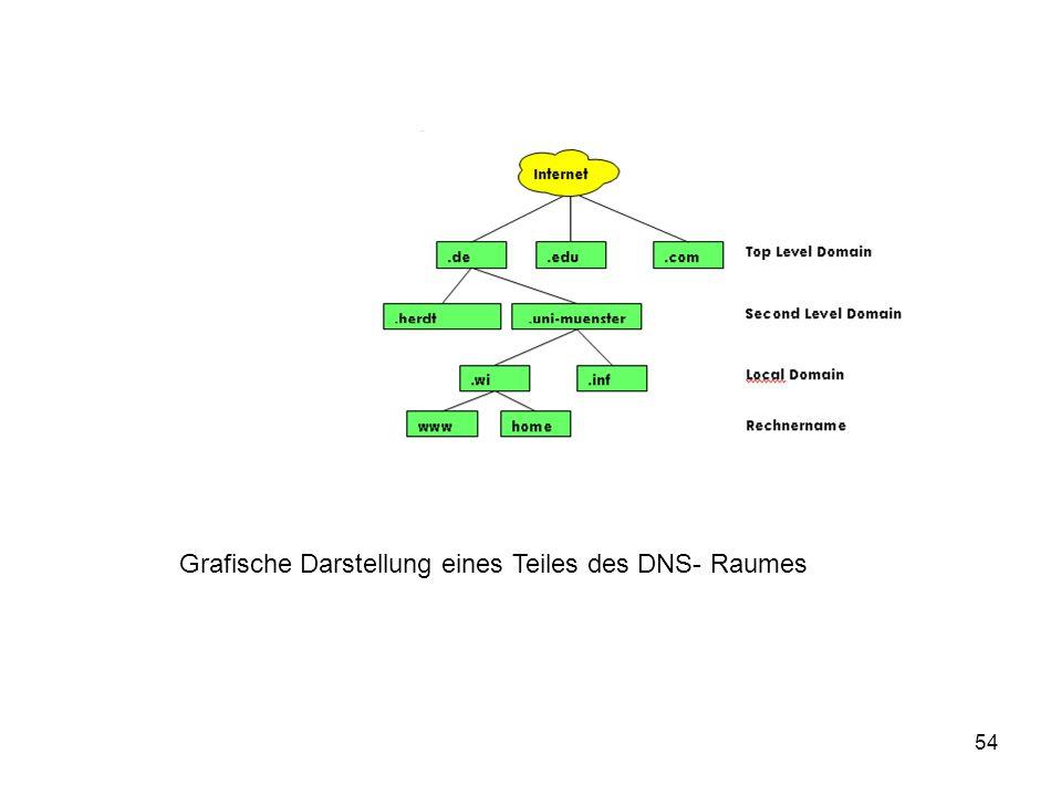 Grafische Darstellung eines Teiles des DNS- Raumes