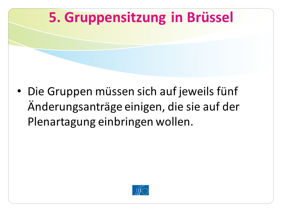5. Gruppensitzung in Brüssel
