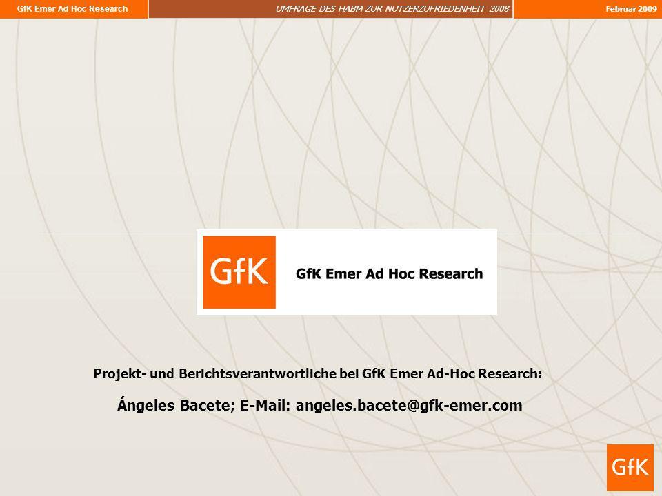 Projekt- und Berichtsverantwortliche bei GfK Emer Ad-Hoc Research:
