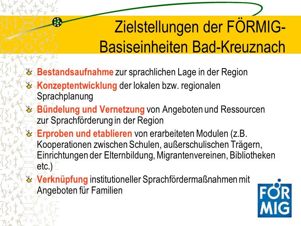 Zielstellungen der FÖRMIG-Basiseinheiten Bad-Kreuznach