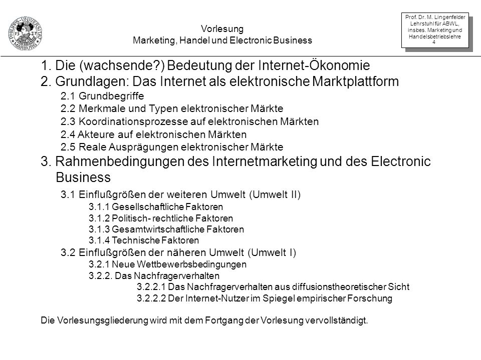 Marketing, Handel und Electronic Business