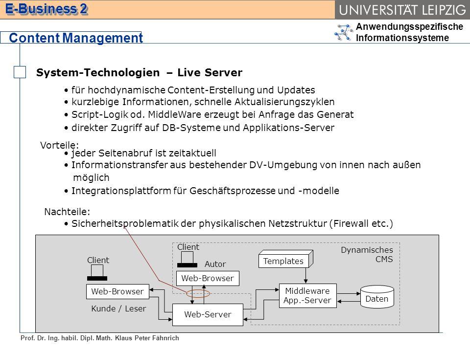 Content Management System-Technologien – Live Server