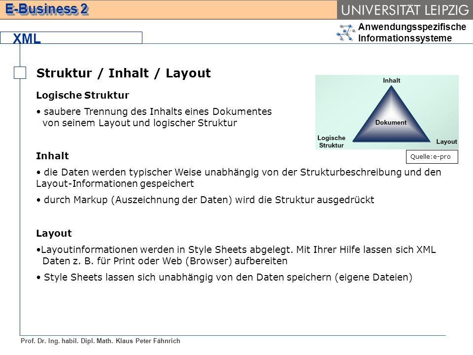 XML Struktur / Inhalt / Layout Logische Struktur