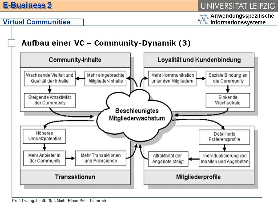 Virtual Communities Aufbau einer VC – Community-Dynamik (3)
