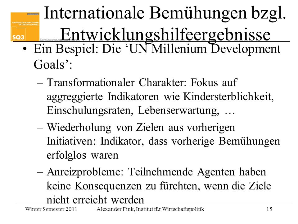 Internationale Bemühungen bzgl. Entwicklungshilfeergebnisse