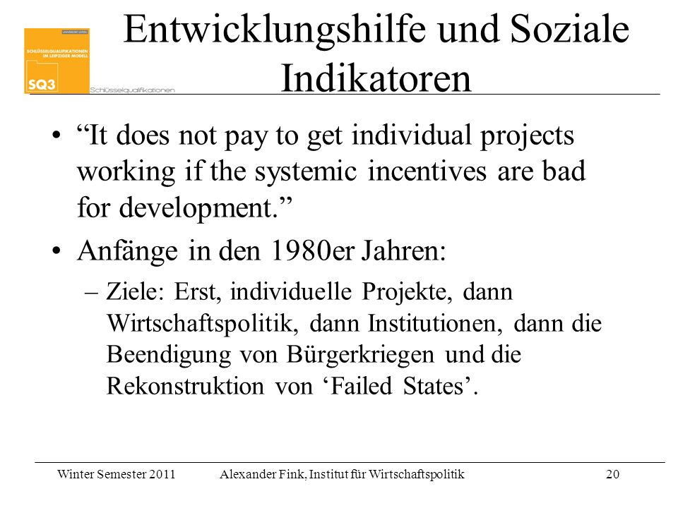 Entwicklungshilfe und Soziale Indikatoren