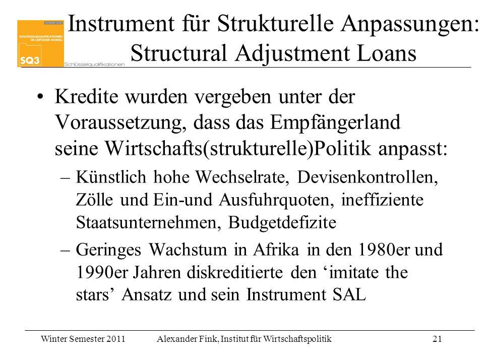 Instrument für Strukturelle Anpassungen: Structural Adjustment Loans