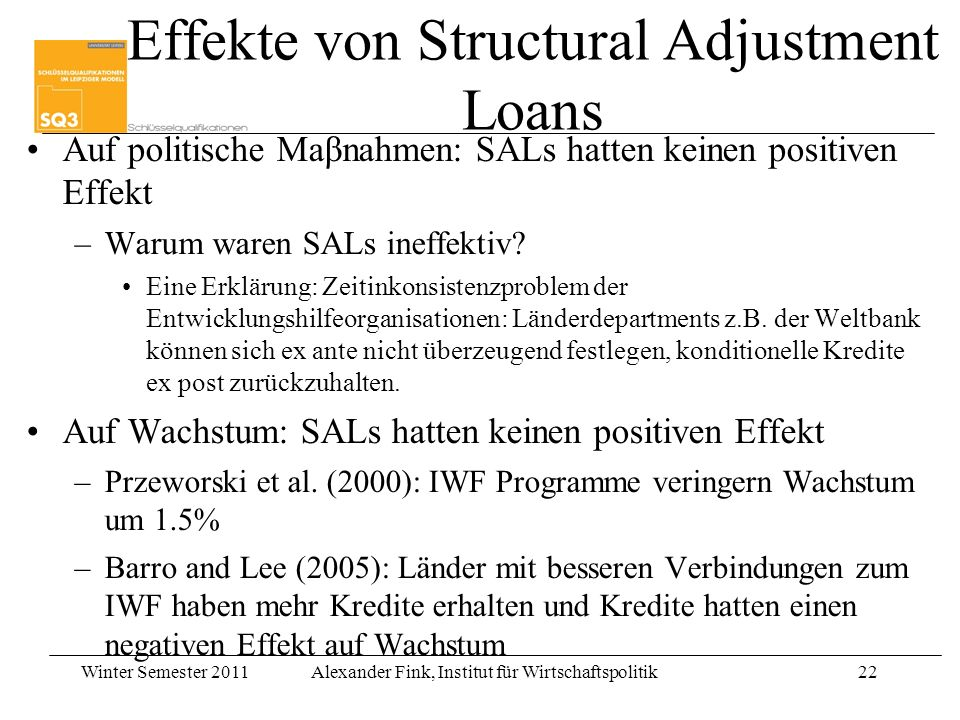 Effekte von Structural Adjustment Loans