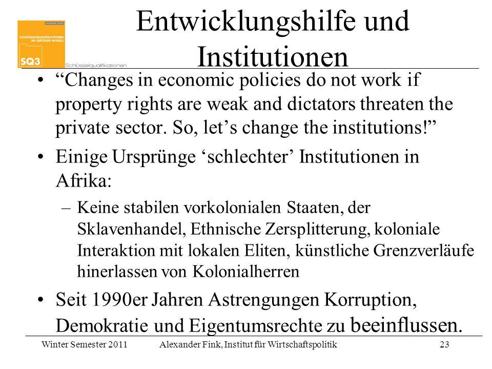 Entwicklungshilfe und Institutionen