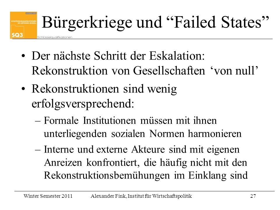 Bürgerkriege und Failed States