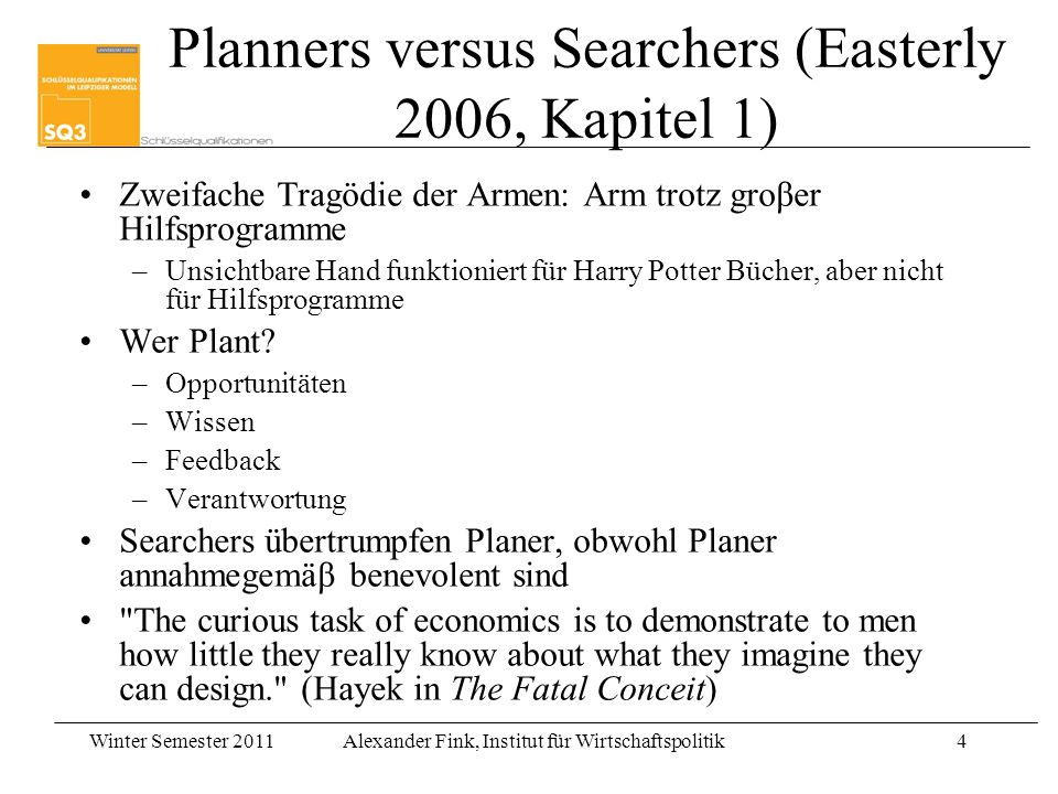 Planners versus Searchers (Easterly 2006, Kapitel 1)