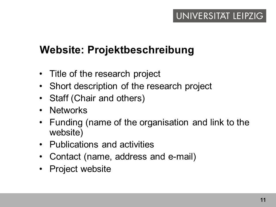 Website: Projektbeschreibung