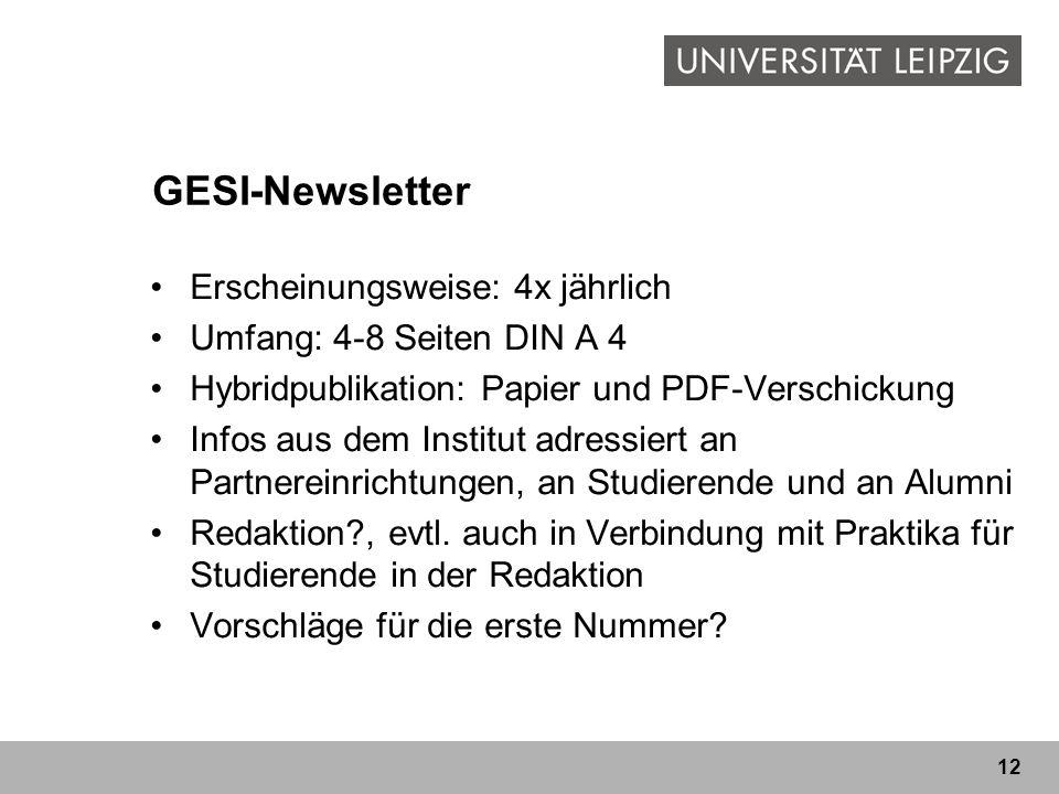 GESI-Newsletter Erscheinungsweise: 4x jährlich