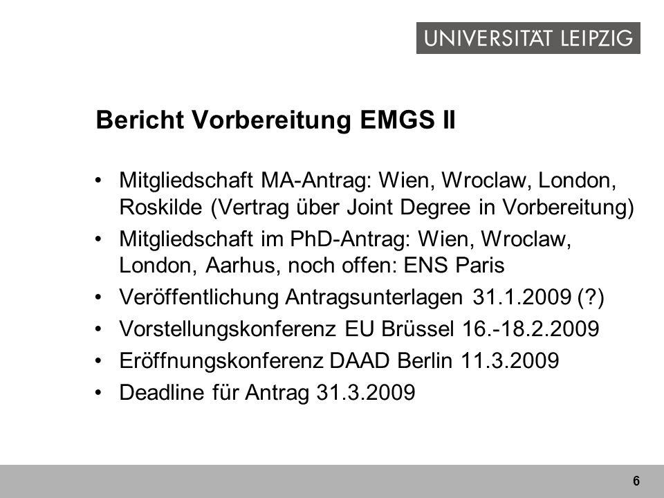 Bericht Vorbereitung EMGS II