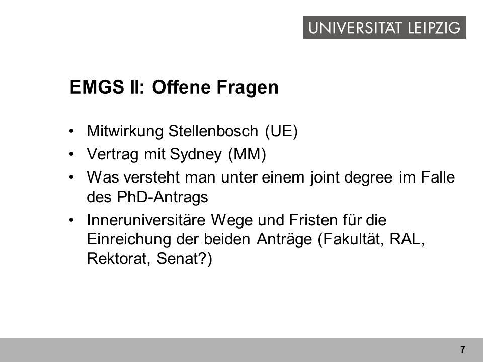 EMGS II: Offene Fragen Mitwirkung Stellenbosch (UE)
